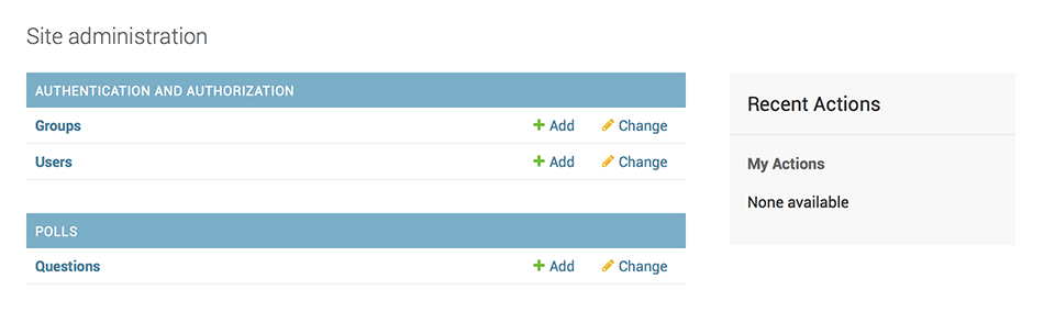 Django admin index page, now with polls displayed